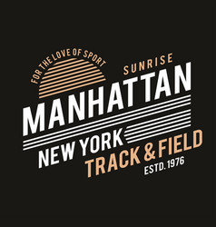new york typography for t-shirt print track and vector image