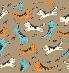 Pattern with cats on brown background vector