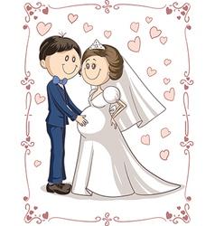 Pregnant Couple Wedding Invitation Cartoon vector image