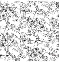 seamless pattern with hand drawn plants vector image vector image