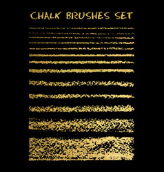 set of gold chalk brushes lines with chalk vector image