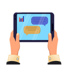 tablet in mans hands message exchange icon modern vector image