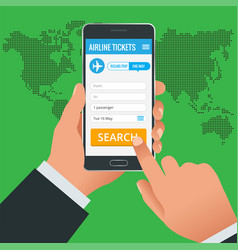 Airline tickets booking online app phone concept vector