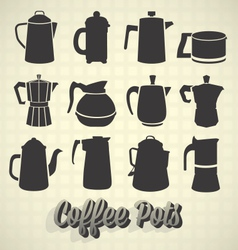 Coffee Pot Silhouette Icons vector image