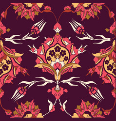 iznik ceramic tiles floral pattern vector image