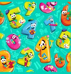 numbers of figures with smiles characters vector image vector image