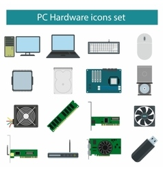 Pc Hardware icons set vector image vector image