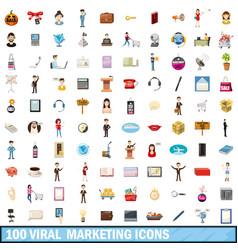 100 viral marketing icons set cartoon style vector