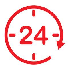 24 hours assistance clock symbol open 24 hours vector image