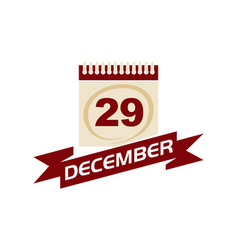 29 december calendar with ribbon vector
