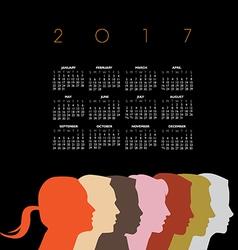 A creative new 2017 diversity calendar vector image