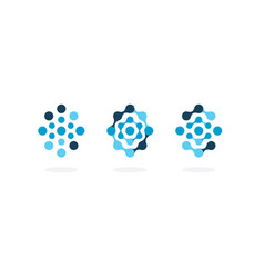 abstract molecule icon set blue circles oval vector image