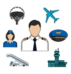 Aviation and aircraft color sketch icons vector