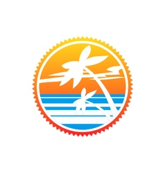 Beach palm tree sunset logo vector