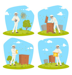 Beekeeping apiary and beekeeper design vector