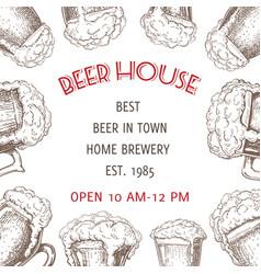 beer background pub banner flyer template vector image