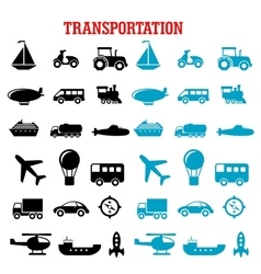 Black and blue flat transportation icons vector image