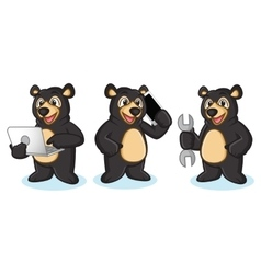 Black Bear Mascot with phone vector