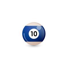 Blue billiard ball number 10 vector