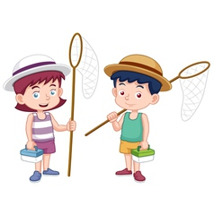 Boy and girl with insect net vector