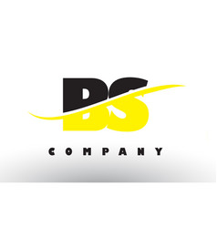 Bs b s black and yellow letter logo with swoosh vector