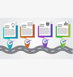 Business infographics 4 steps road map vector