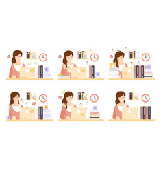 businesswoman in workplace set female office vector image