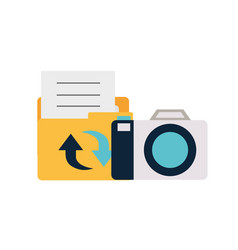 camera with set icons isolated icon vector image