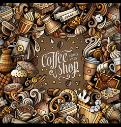 cartoon doodles coffee frame vector image