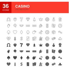 casino line web glyph icons vector image