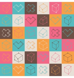 Checker pattern with geometric shapes vector