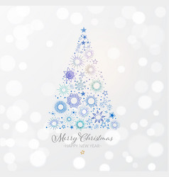 christmas tree made blue stars on white glowing vector image