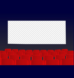 Cinema screen with red seats movie premiere poste vector