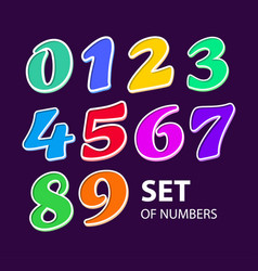colored cartoon numbers set 1 2 3 4 vector image