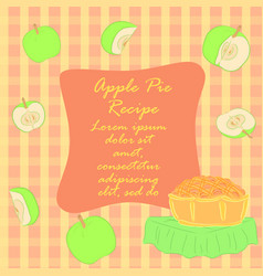 colorful apple pie recipe leaflet vector image