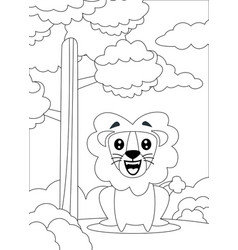 Coloring page a lion sit and smiling vector