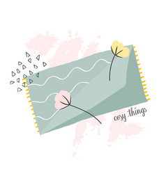 Cosy blanket and elements hygge living concept vector