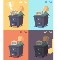 Cute alarm clock at different times of day vector
