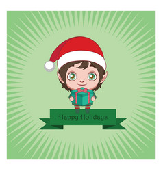 cute christmas elf banner with background vector image