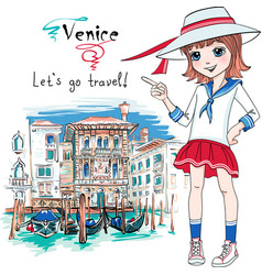 Cute fashion girl in venice italia vector