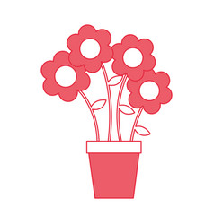 Cute flower in pot drawing decorative vector