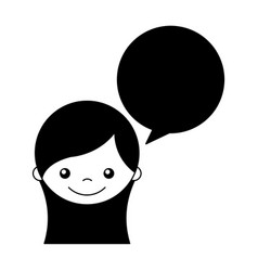 Cute girl with speech bubble character icon vector