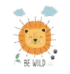 Cute lion and plants print design vector