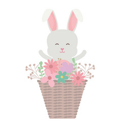 cute little rabbit with basket straw and flowers vector image