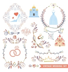 Cute vintage floral set with wedding iconsdoodle vector