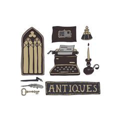 Dark academia room set antiques shop concept vector