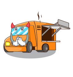 Devil food truck festival on shape cartoon vector