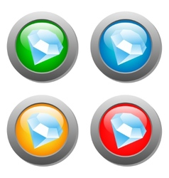 Diamond icon glass button set vector image