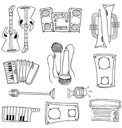 Doodle of hand draw music tool vector