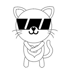 Dotted shape happy cat cute feline animal with vector